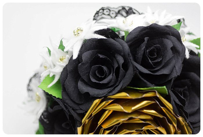 bouquet rose con rosa di rame